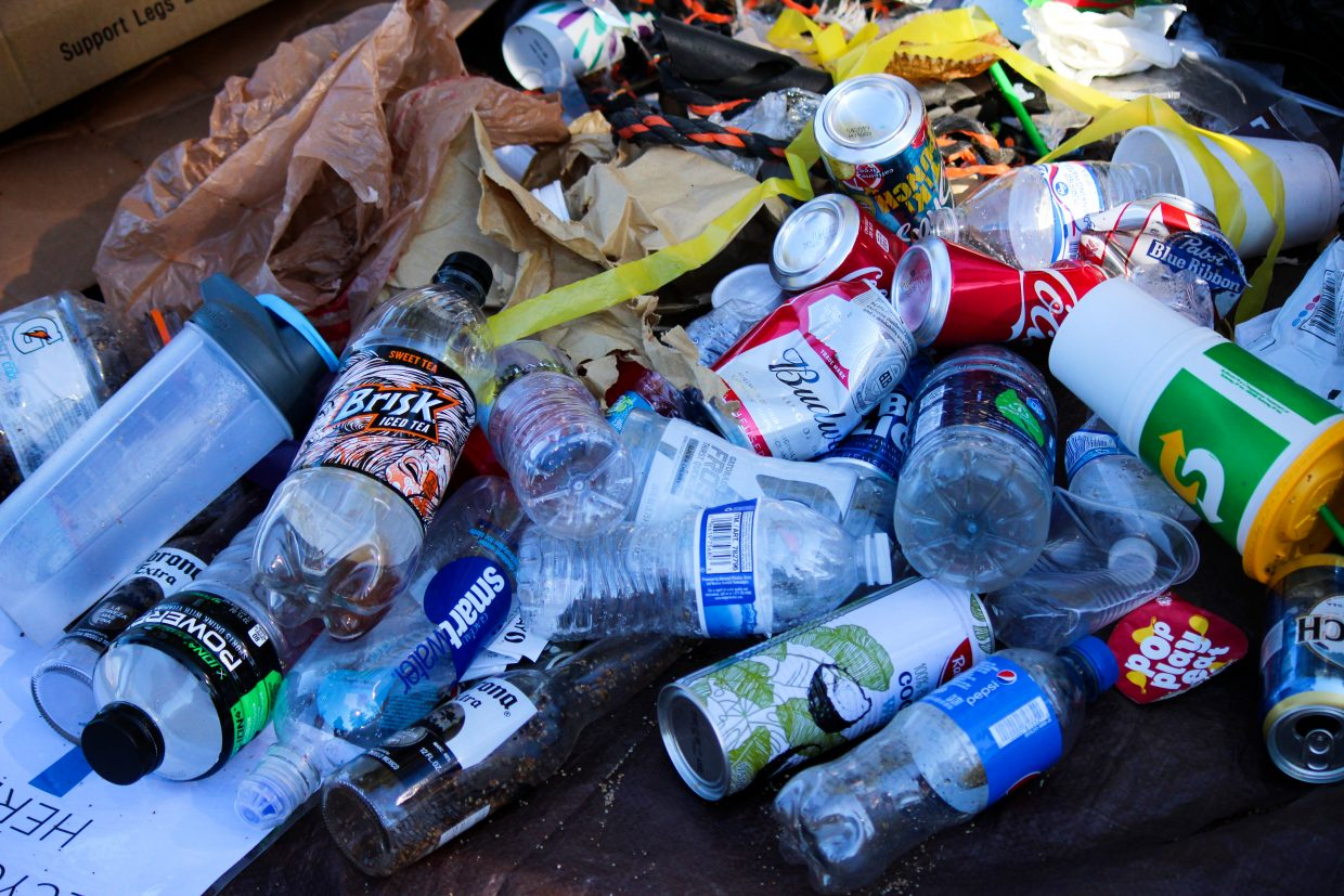 Despite the alcohol ban at many beaches, beer bottles and cans were common among the recyclables collected.