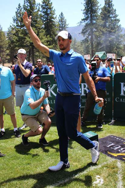 Stephen Curry celebrates his shot at the Korbel Celebrity Spray-off.