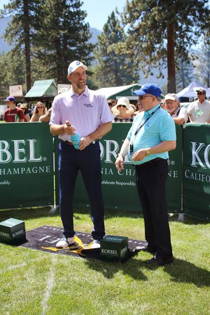 John Smoltz chats before participating in the Korbel Celebrity Spray-off.