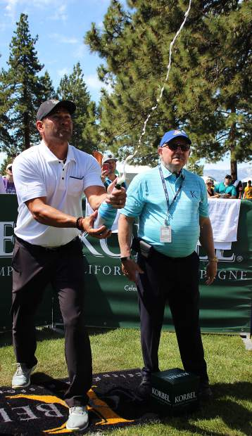 Johnny Damon launches the champagne cork at the Korbel Celebrity Spray-off.