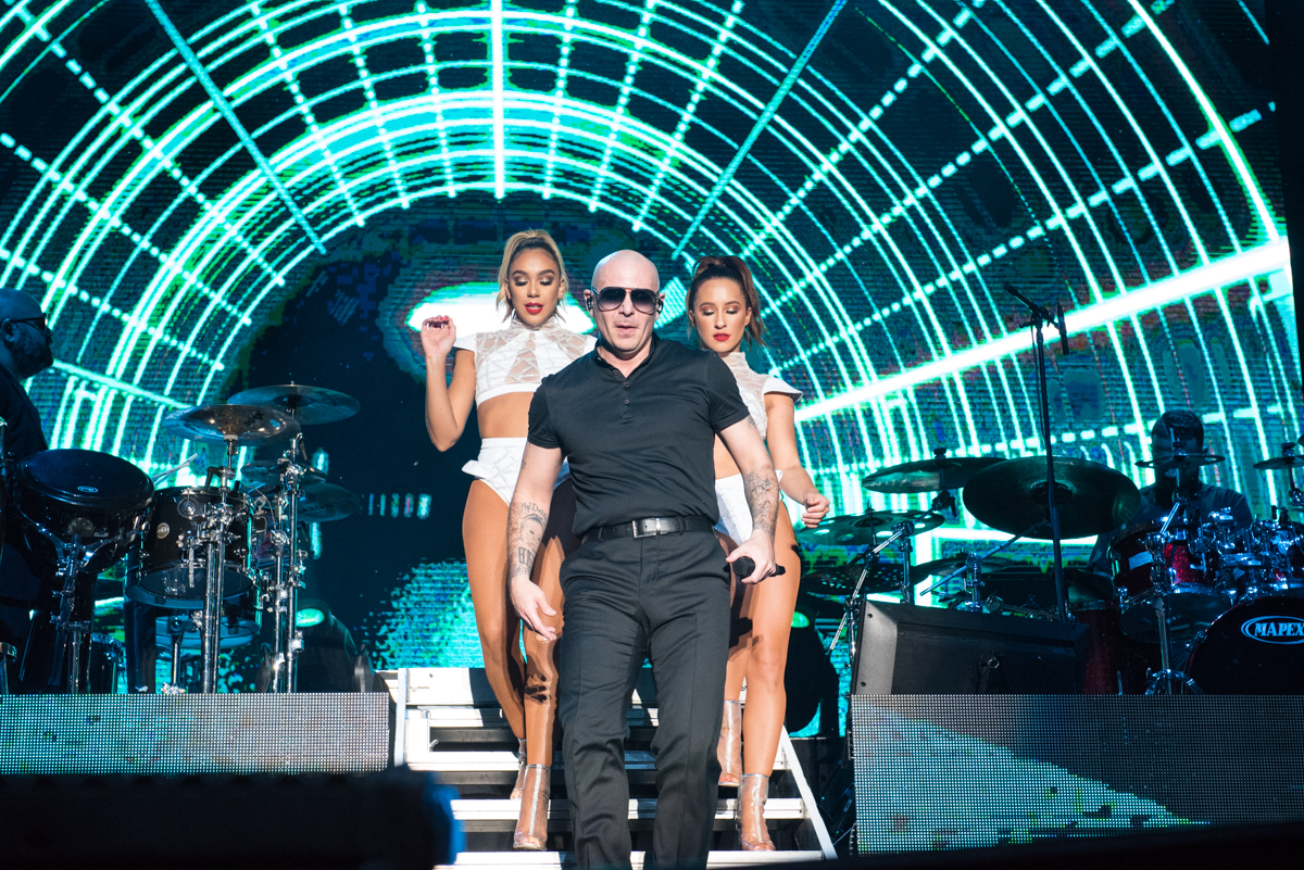 Pitbull performing at the Harveys Lake Tahoe outdoor concert venue on Friday, July 13th.