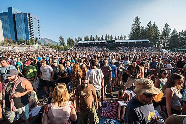 Fans waiting to see Phish perform at the Harveys Lake Tahoe outdoor concert venue on Tuesday, July 17.