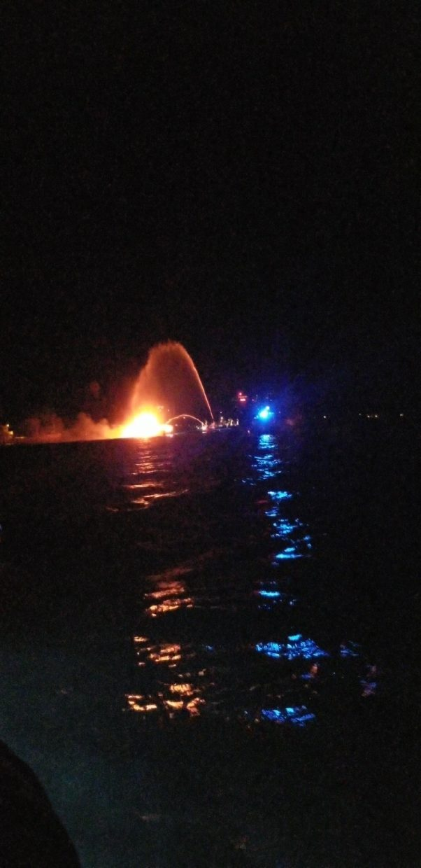 A barge caught fire early Thursday morning following the July Fourth fireworks display on Lake Tahoe's South Shore.