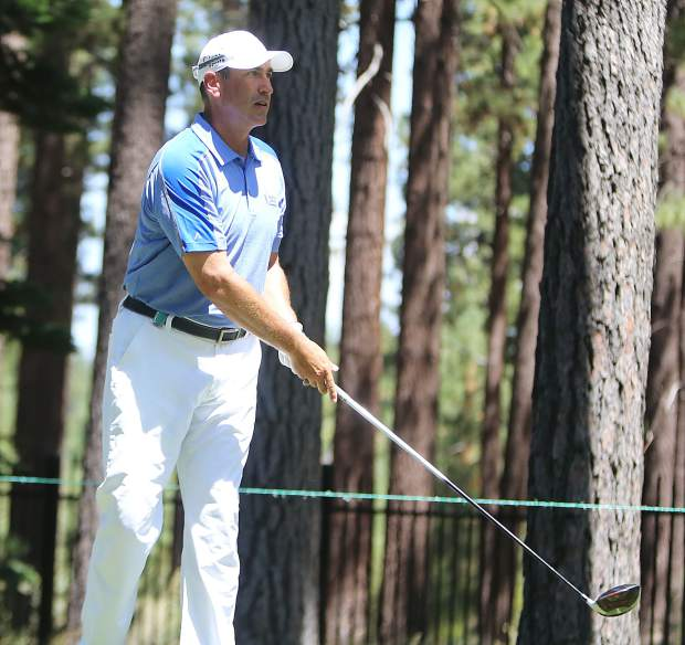 Rob Riggle watches his ball during the final round of the American Century Championship on Sunday in Stateline.