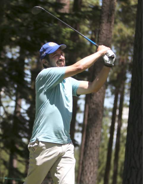 Ray Romano tees off during the final round of the American Century Championship on Sunday in Stateline.