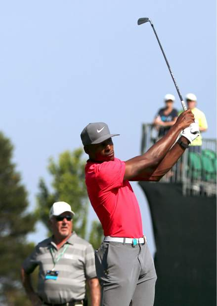 Ray Allen watches his ball during the final round of the American Century Championship on Sunday in Stateline.
