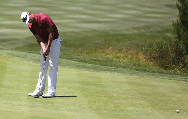 Three-time defending champion Mark Mulder putts during the final round of the American Century Championship on Sunday in Stateline.