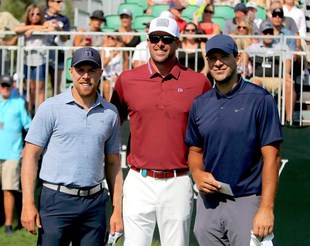 From left, Joe Pavelski, Mark Mulder and Tony Romo on the first tee during the final round of the American Century Championship on Sunday in Stateline.