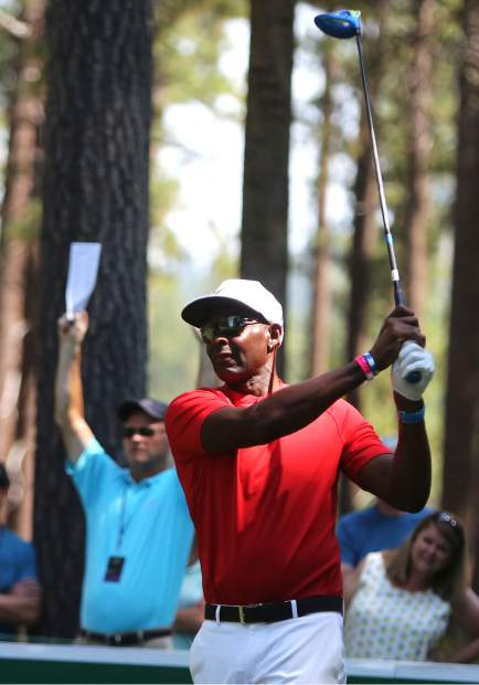 Jerry Rice tees off during the final round of the American Century Championship on Sunday in Stateline