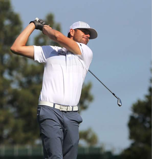 Mardy Fish tees off during the final round of the American Century Championship on Sunday in Stateline