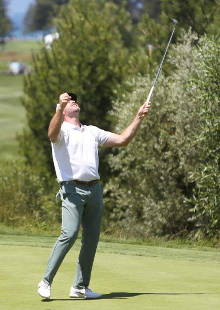 Trent Dilfer reacts after making a birdie putt during the final round of the American Century Championship on Sunday in Stateline.