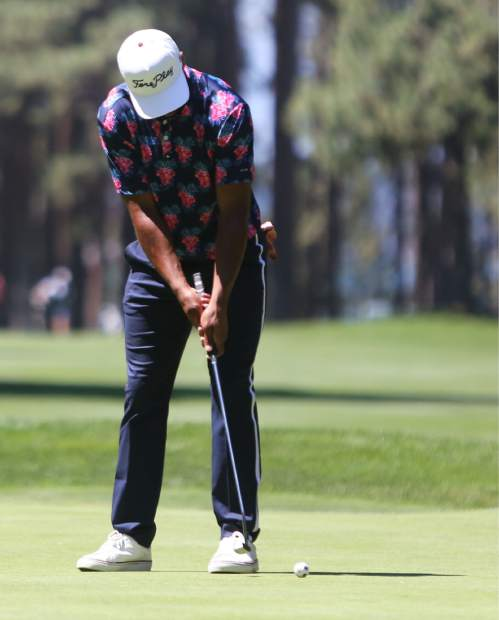 Golden Tate putts during the final round of the American Century Championship on Sunday in Stateline.