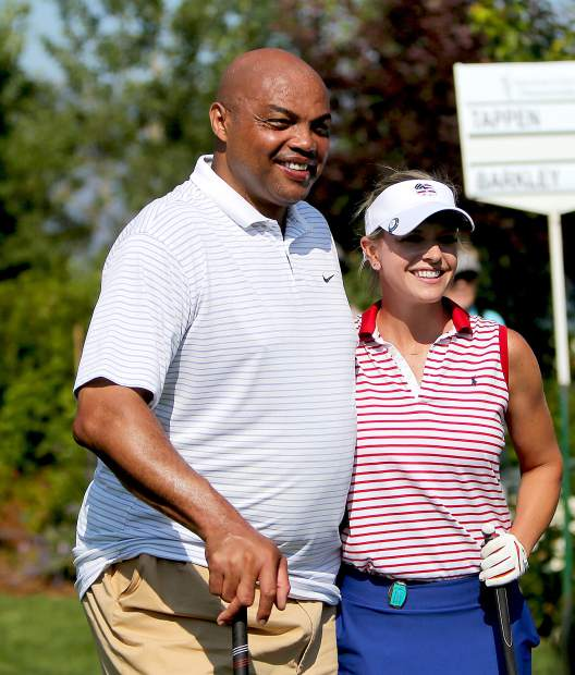 Charles Barkley and Kathryn Tappen before the final round of the American Century Championship on Sunday in Stateline.