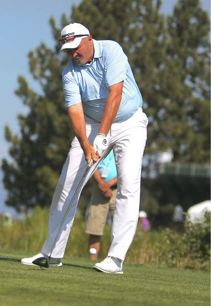 Mark Rypien tees off during the final round of the American Century Championship on Sunday in Stateline.