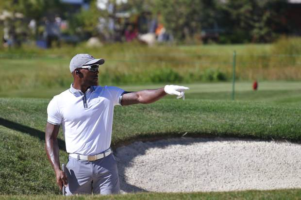 Arizona Cardinals cornerback Patrick Peterson points from a sand bunker Wednesday.