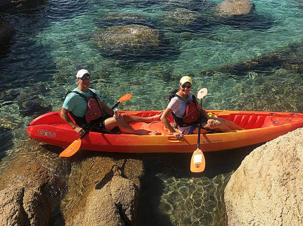 Kayaking on gorgeous Lake Tahoe.