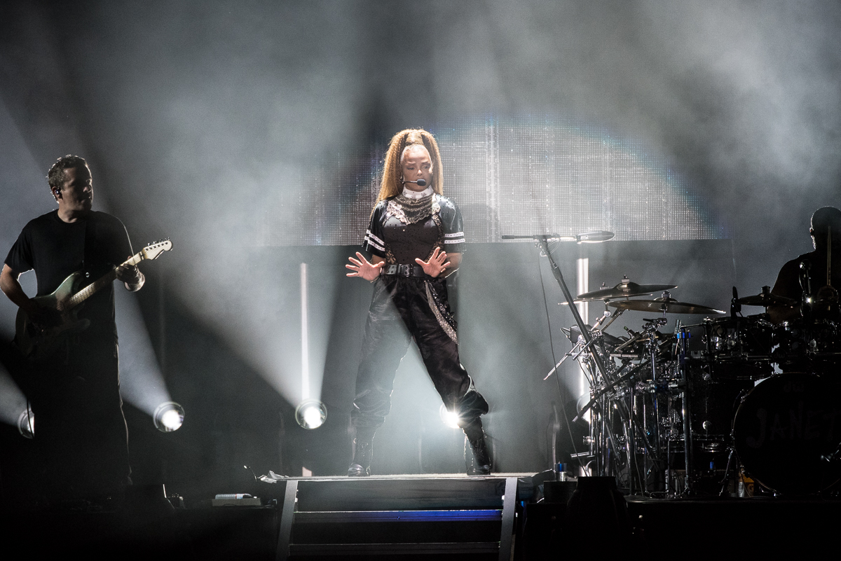 Janet Jackson performing at the Harveys Lake Tahoe outdoor concert venue on Friday, Aug. 11.
