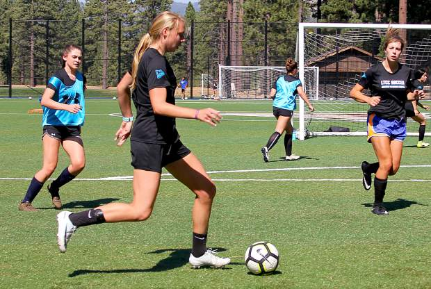 The Lake Tahoe Community College Lady Coyotes soccer team practices Tuesday, Aug. 21, in preparation for the season opener on Friday, Aug. 31.