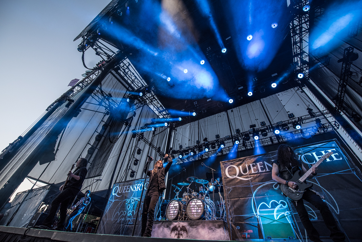 Queensryche performing at the Harveys Lake Tahoe outdoor concert venue on Friday, Aug. 31.
