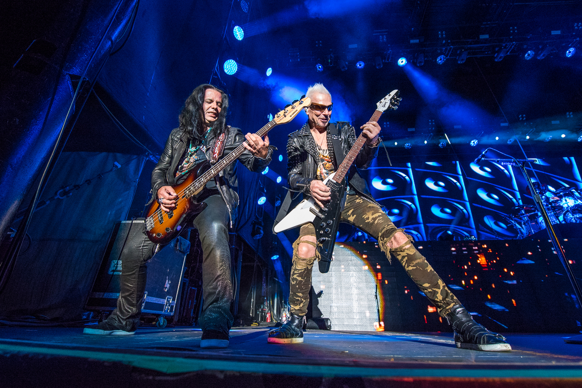 Pawel Macioda and Rudolph Schenker of The Scorpions performing at the Harveys Lake Tahoe outdoor concert venue on Friday, Aug. 31.