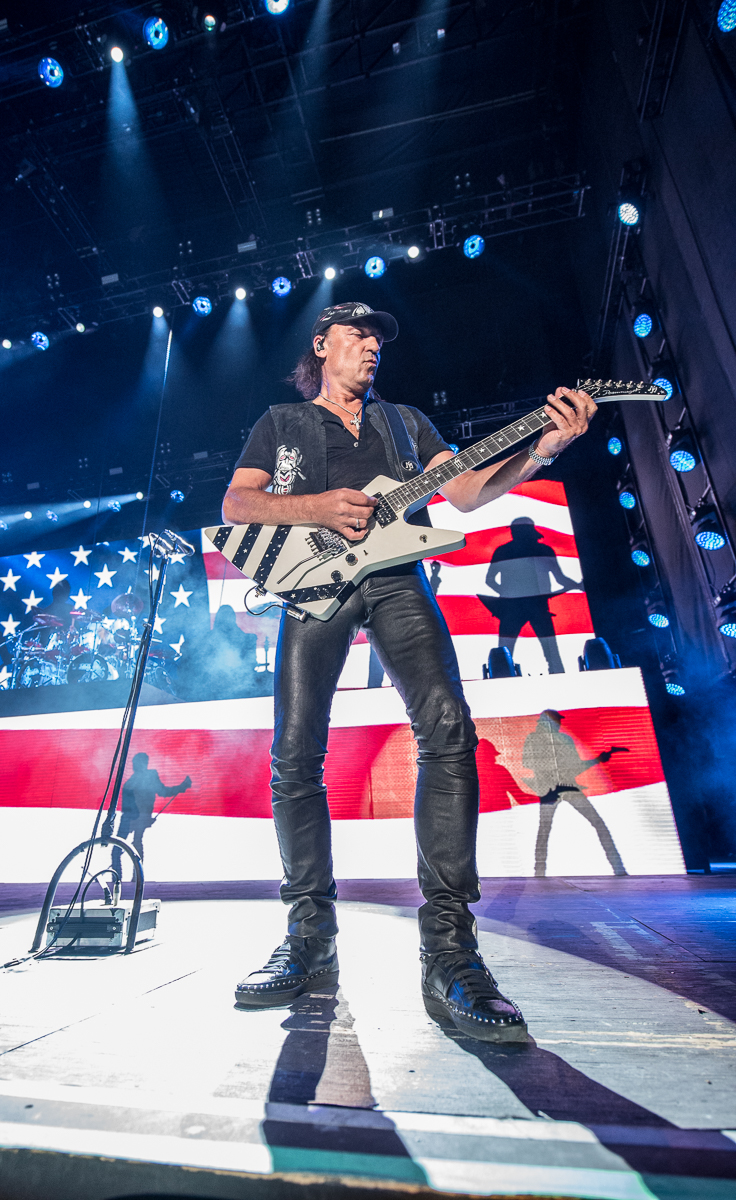 Matthias Jabs of The Scorpions performing at the Harveys Lake Tahoe outdoor concert venue on Friday, Aug. 31.