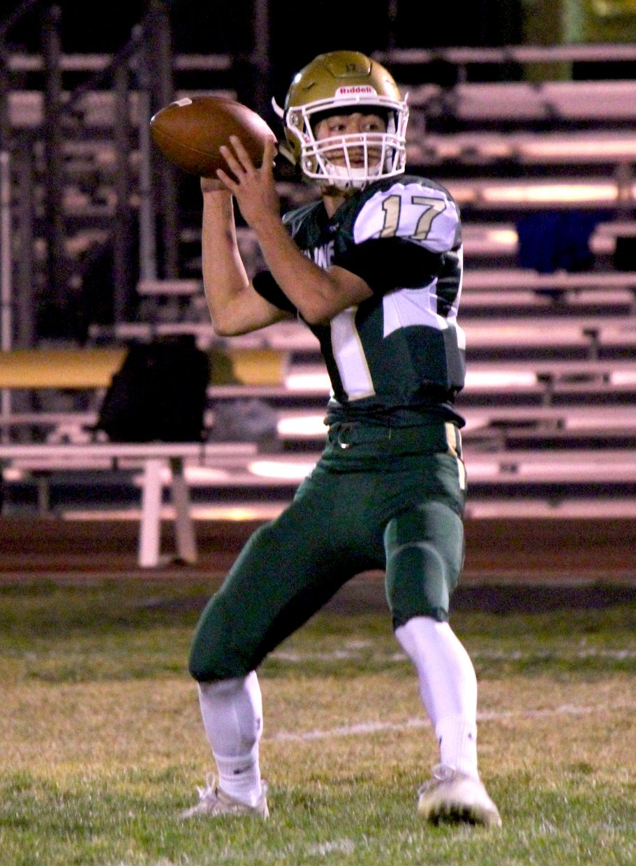 Incline sophomore quarterback Dylan Cleary  prepares to fire a deep pass.