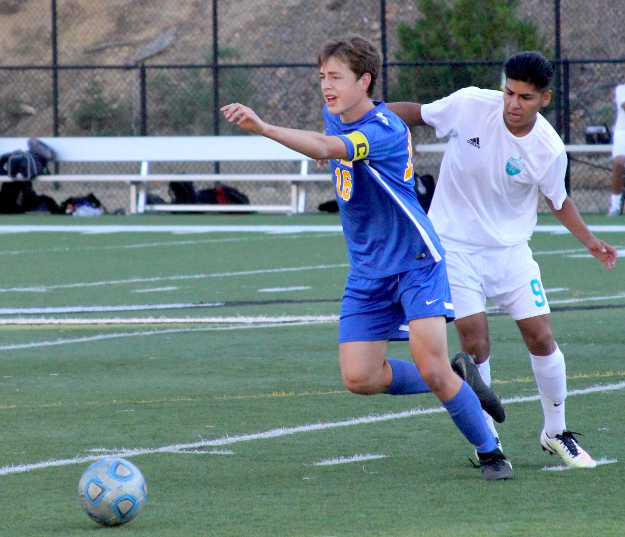 South Tahoe's Alexander Norling dribbles past a North Valleys defender.