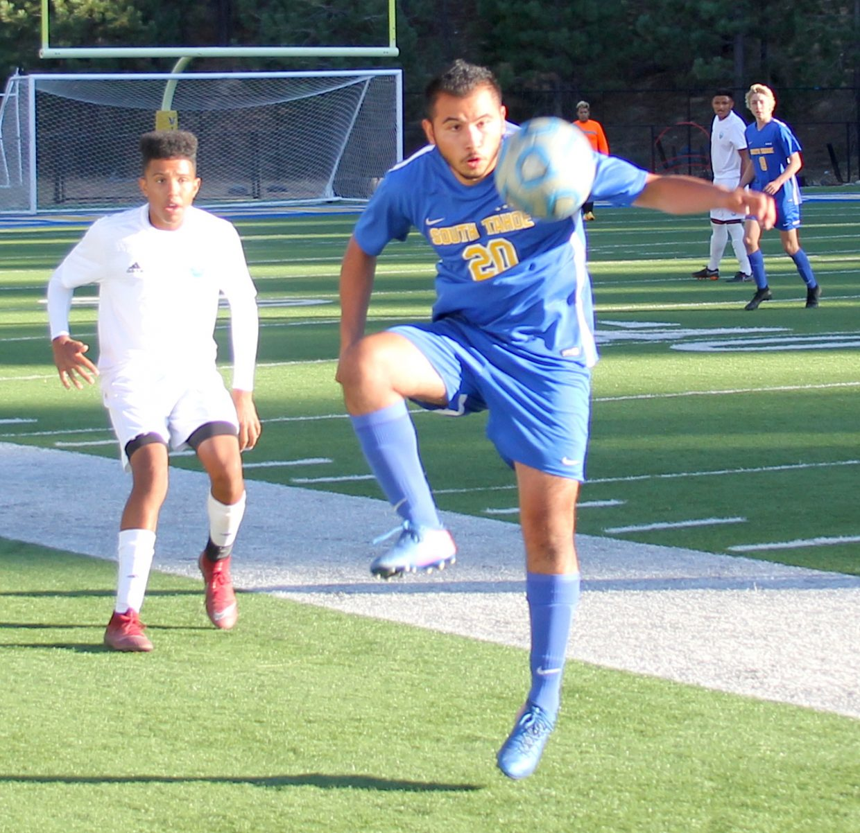 Oscar Negrete Bravo receives a pass Wednesday against North Valleys.