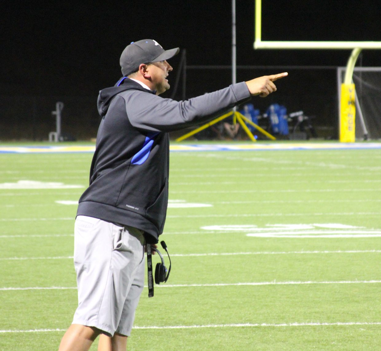 South Tahoe head coach Louis Franklin gives instruction to his team.