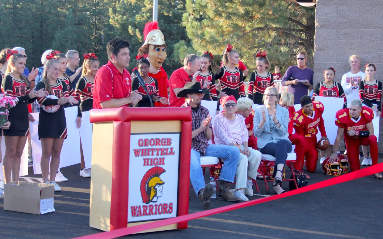 Whittell principal Crespin Esquivel gives thanks to everyone who had a hand in making Whittell's new athletic facility a reality.