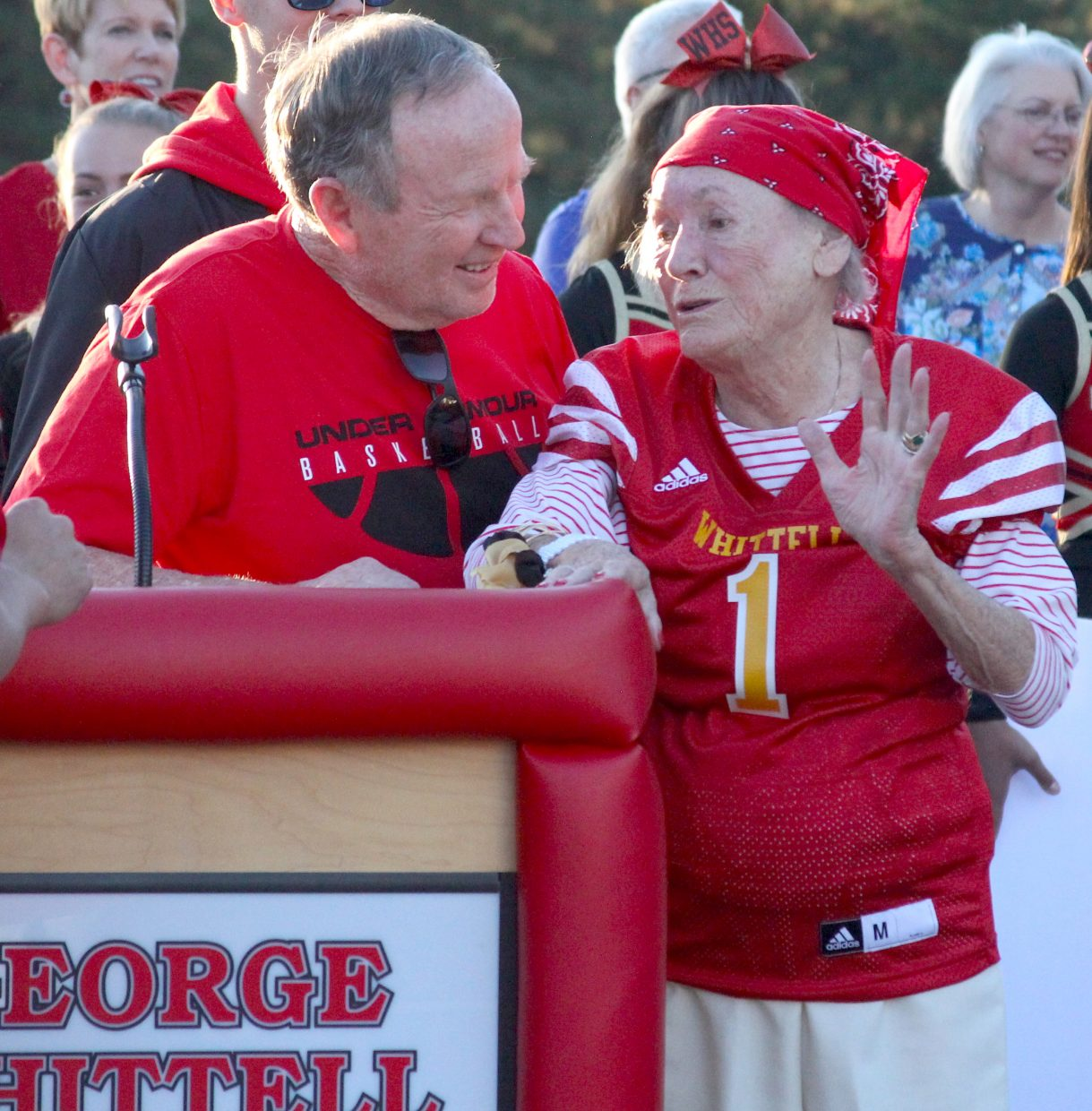 Whittell athletic director Phil Bryant chats with the Angel of Tahoe Lisa Maloff during a field dedication in her honor.