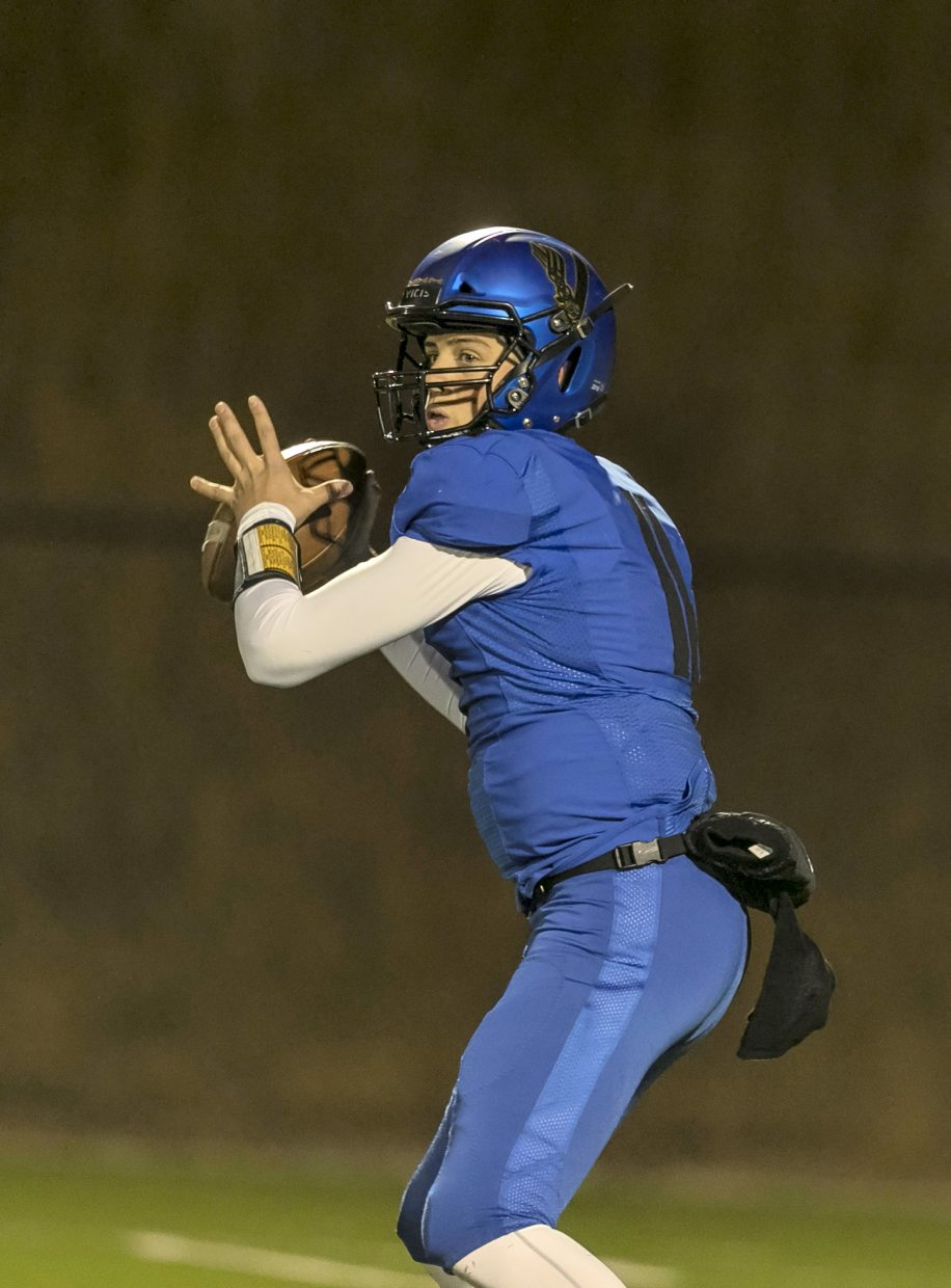 South Tahoe quarterback Jake Tarwater looks for a receiver.