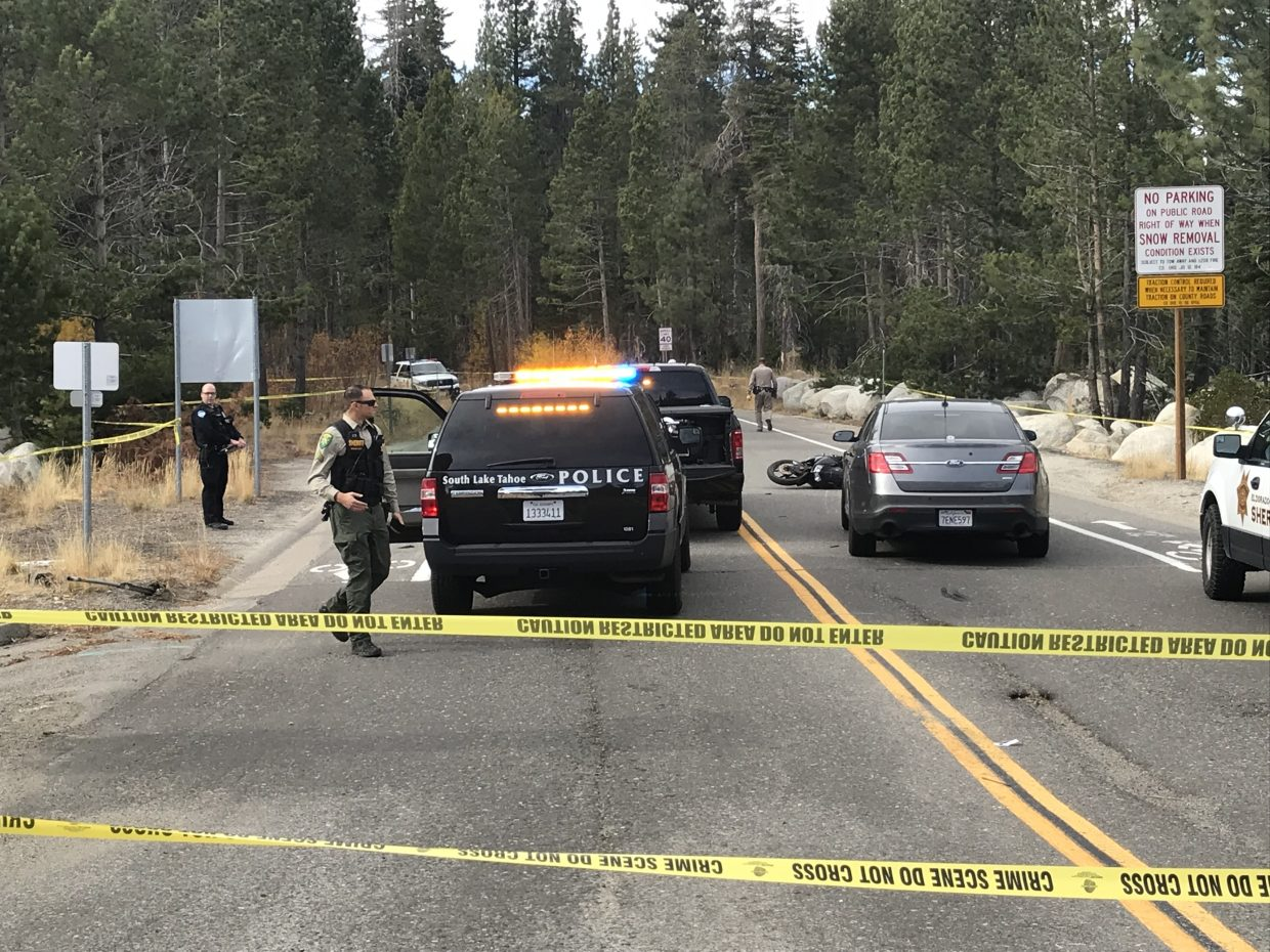 Multiple agencies are at what is described as a crime scene at the intersection of U.S. 50 and North Upper Truckee.