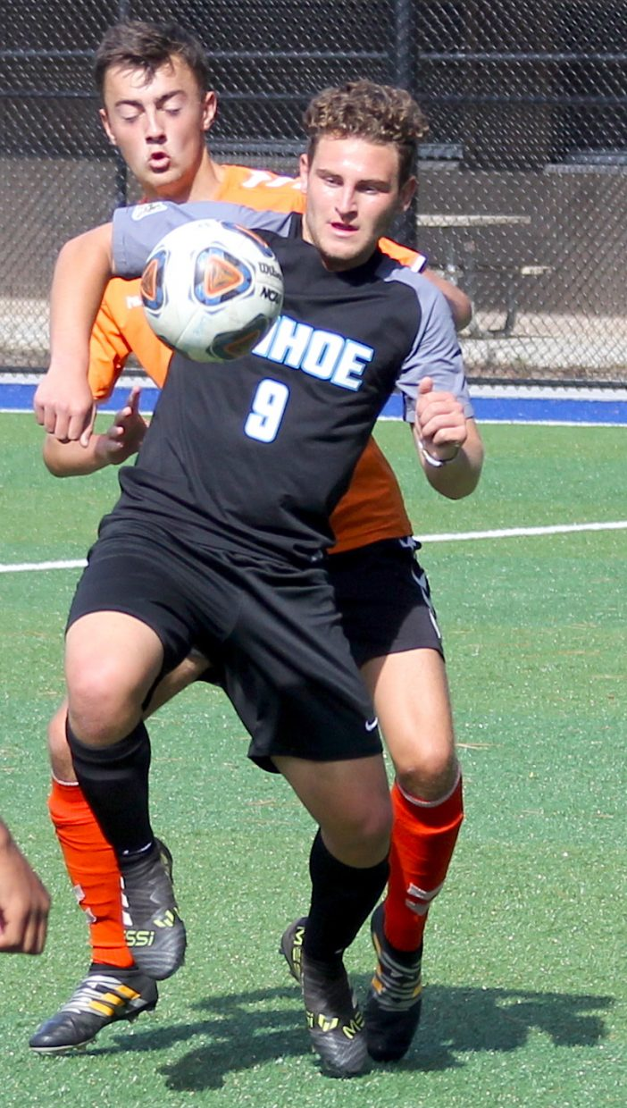 South Tahoe's Niko Dongmann gains possession Friday against Lassen.