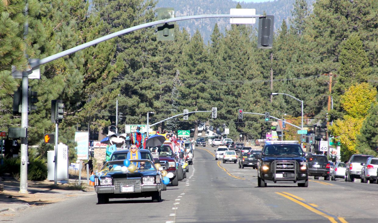 South Tahoe High School's homecoming parade heads south on Highway 50.