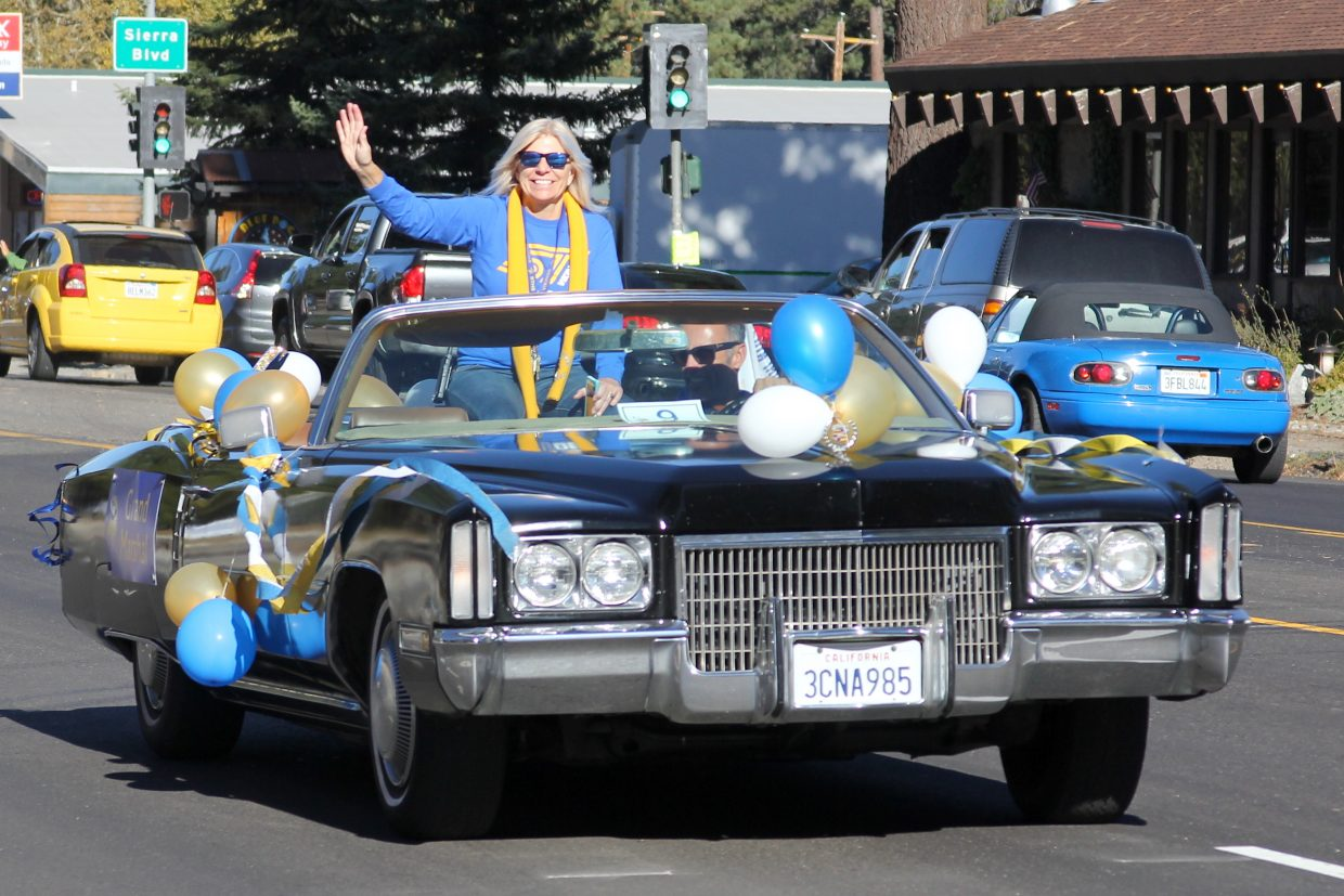 South Tahoe principal Carline Sinkler enjoys a ride in a cool convertible Cadillac.