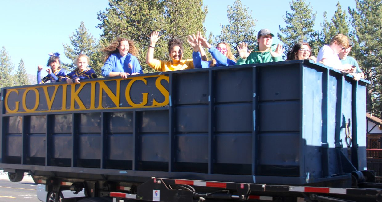 Students celebrate during the parade.