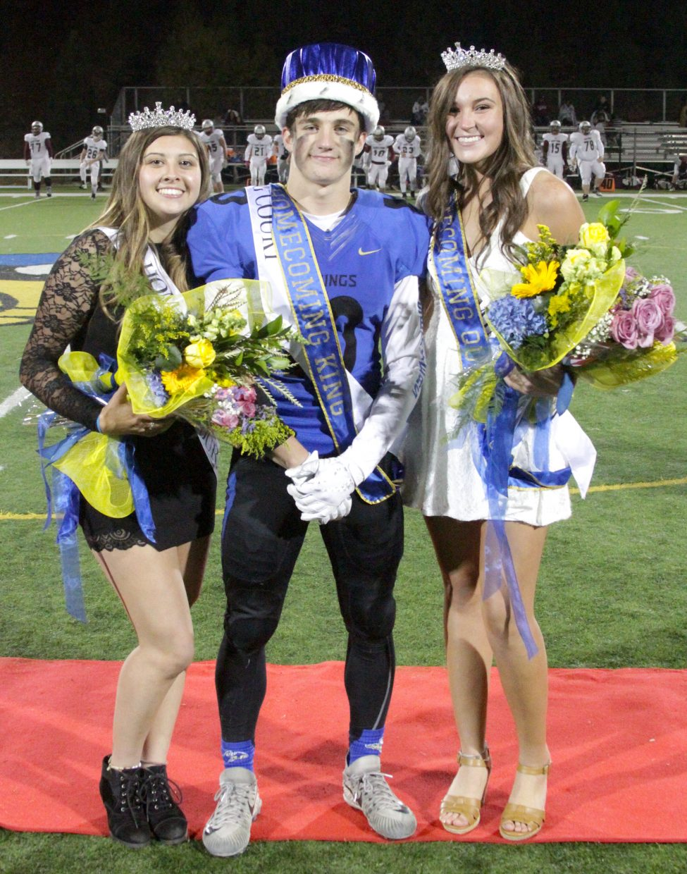 Kody Griffis was crowned homecoming king at halftime and Syd McCarthy and Mirella Roberts finished tied in voting for queen.