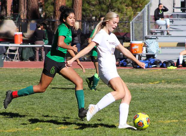 South Tahoe freshman Anjelina Maltase gears up for a shot on goal Wednesday against Incline.