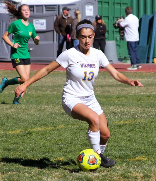 South Tahoe sophomore Giovana De Loia drives upfield Wednesday in the Vikings 3-0 victory over Incline.