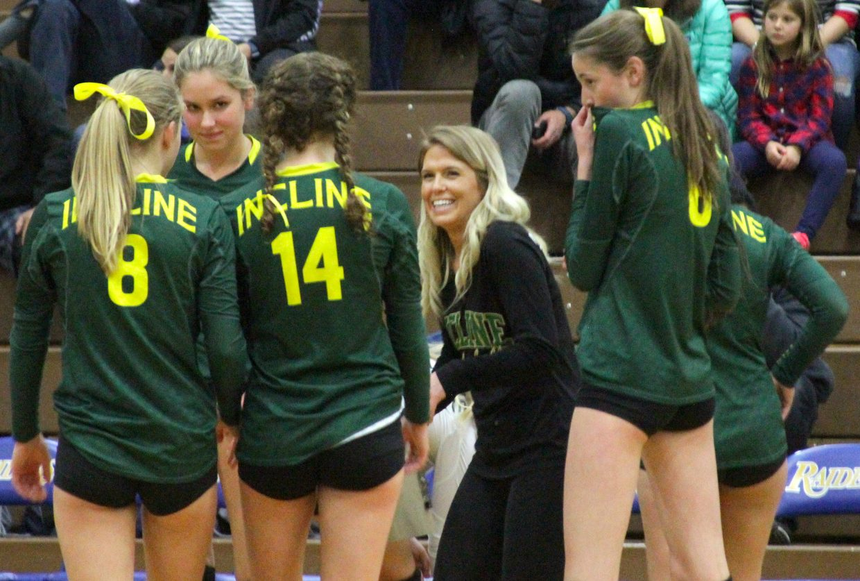 Incline head coach Shana Moore tries to keep her Highlanders loose during a timeout.