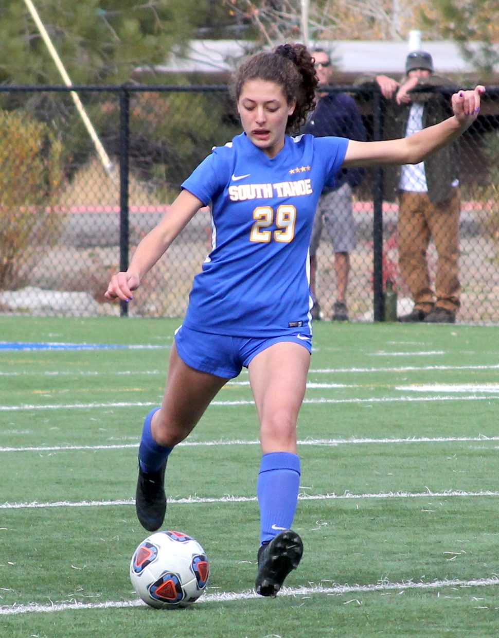 South Tahoe's Jenna Revenge hits a free kick.