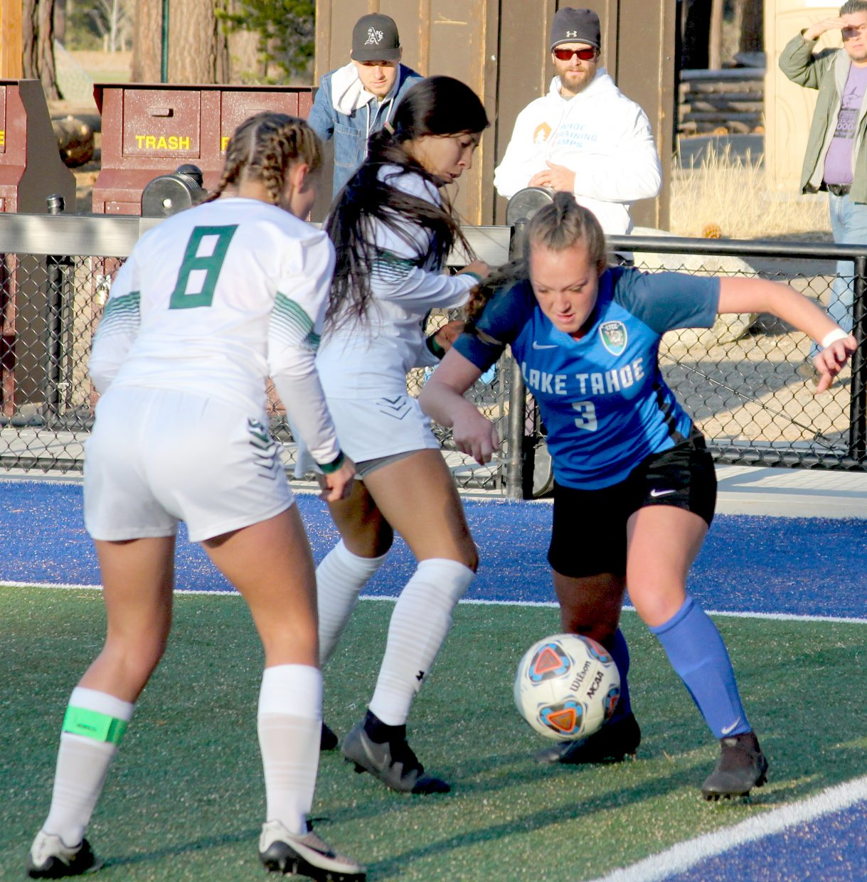 Lake Tahoe's Annie Brejc battles an Evergreen Valley double team Saturday.
