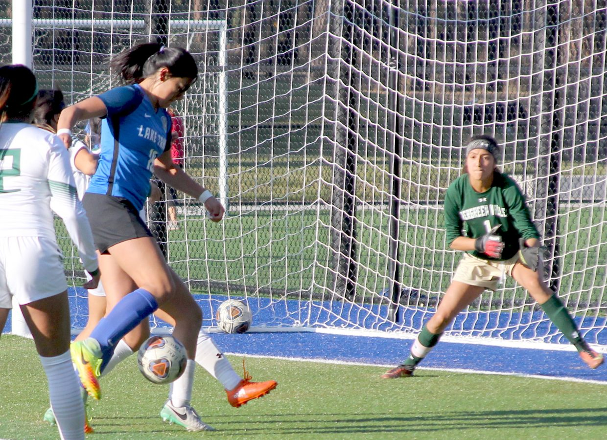 Lake Tahoe's Alyssa Williams attempts to gather possession for a shot on goal.