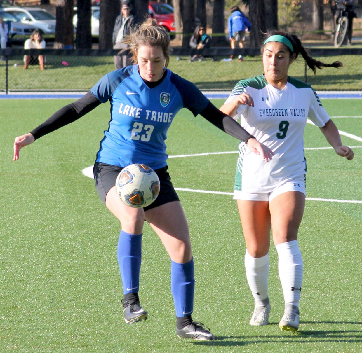 Eleanor Boothman gathers a pass Saturday during Lake Tahoe's 5-0 victory over Evergreen Valley.