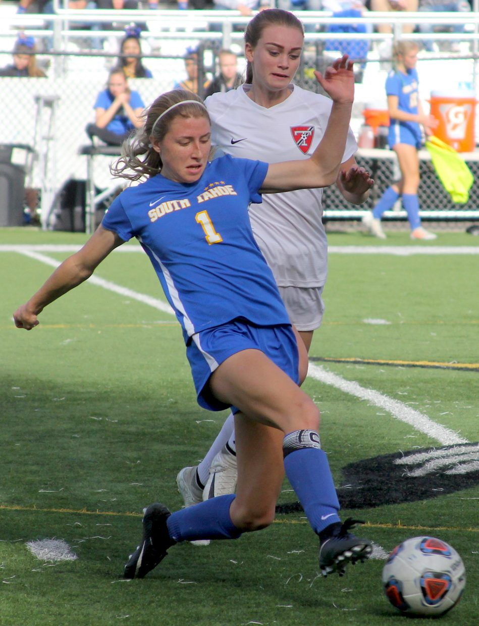 South Tahoe's Lillie McGuire makes a pass.