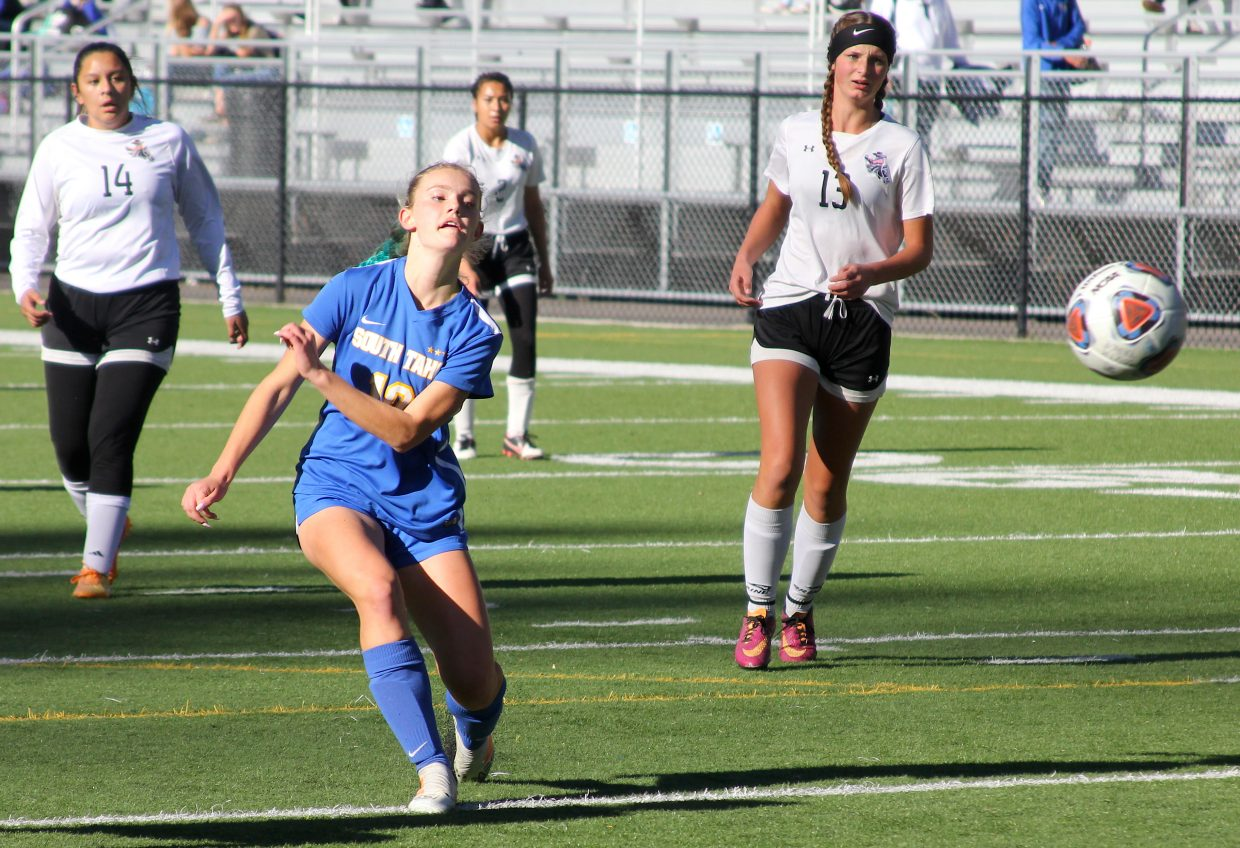 South Tahoe freshman Anjelina Maltase shoots and scores the Vikings third goal Thursday against Fernely.