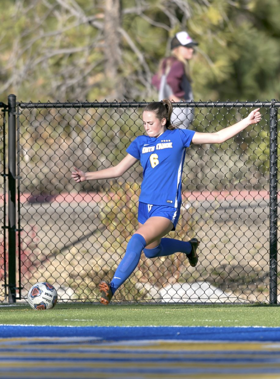 Sarah Hardin boots a corner kick against Fernley.