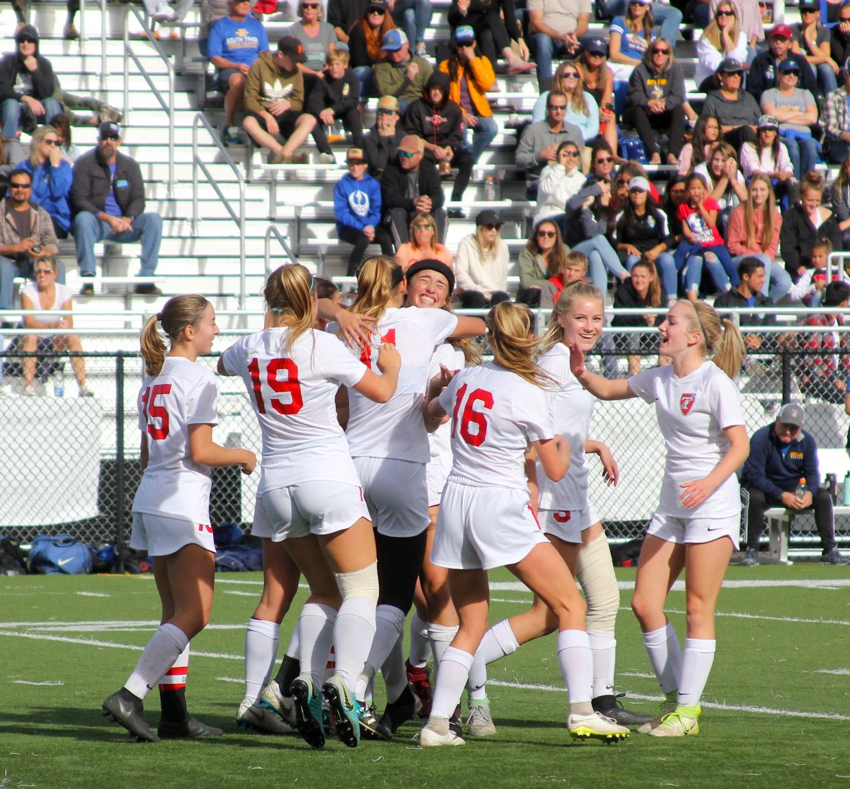 Truckee celebrates Saturday in the first half after Emily Monson's powerful free kick goal gave the Wolverines a 1-0 lead.
