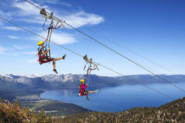 The Heavenly Flyer zip line at Heavenly Mountain Resort is a popular summer activity.